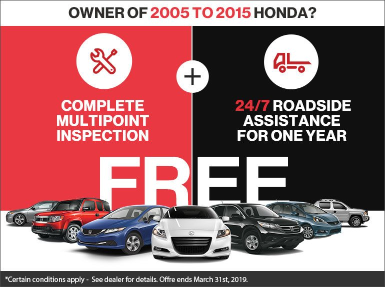 receive a Complete Multipoint Inspection for free at Lombardi Honda